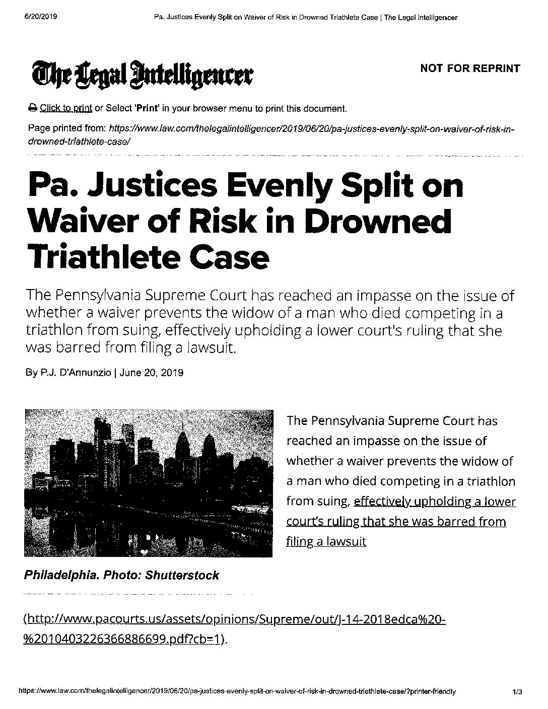 SGRV Attorney Heather M. Eichenbaum Receives PA Supreme Court Decision In Favor of Philadelphia Triathlon, LLC